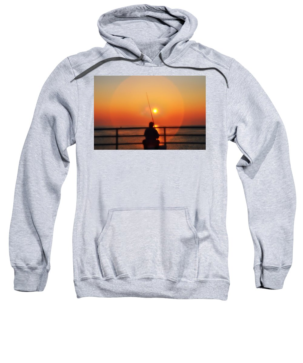 Atlantic City Sweatshirt featuring the photograph Boardwalk Fishing by Bill Cannon