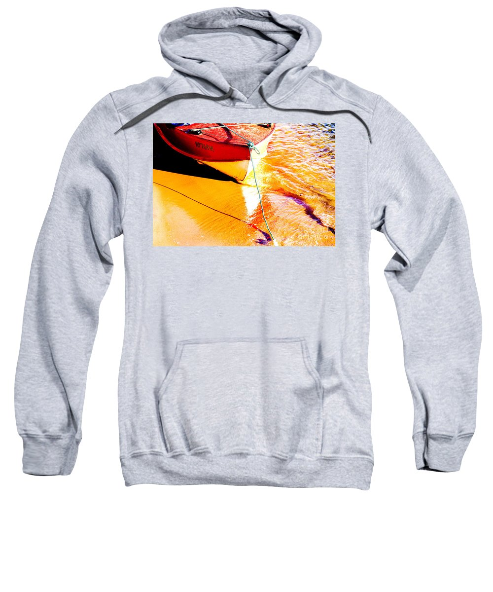 Boat Abstract Yellow Water Orange Sweatshirt featuring the photograph Boat Abstract by Avalon Fine Art Photography
