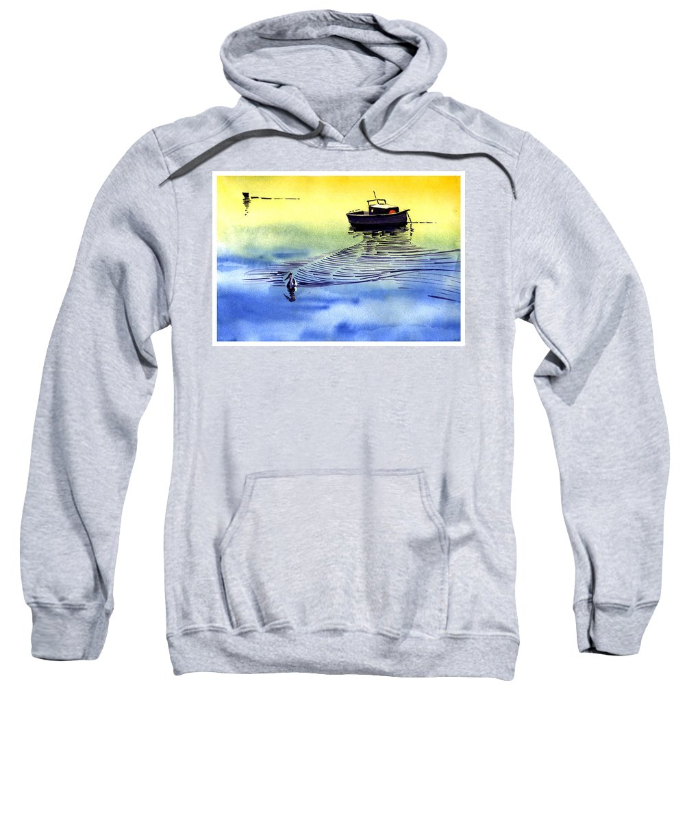 Watercolor Sweatshirt featuring the painting Boat And The Seagull by Anil Nene