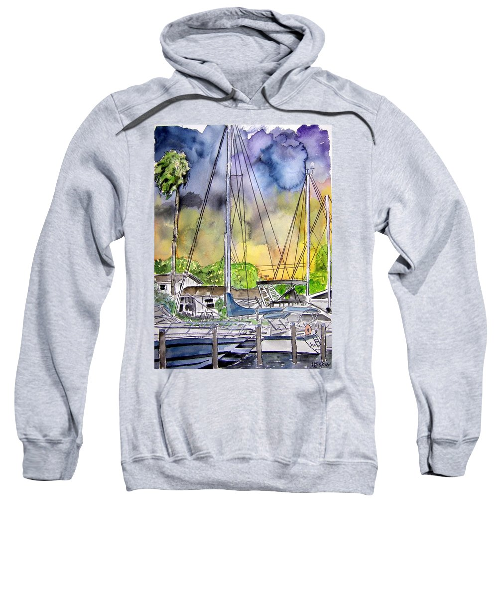 Marina Sweatshirt featuring the painting Boat Marina by Derek Mccrea