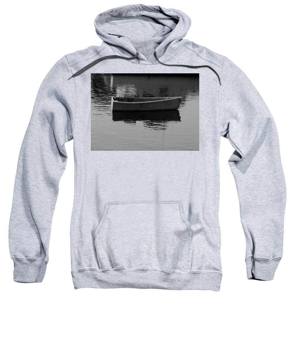 New England Sweatshirt featuring the photograph Boat Reflections by Nancie DeMellia