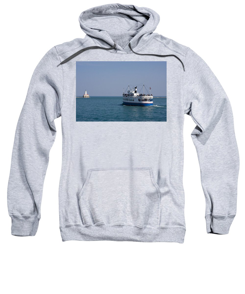 Boat Ride Chicago Windy City Tourist Tourism Travel Water Lake Michigan Attraction Blue Sky Sweatshirt featuring the photograph Boat Ride by Andrei Shliakhau