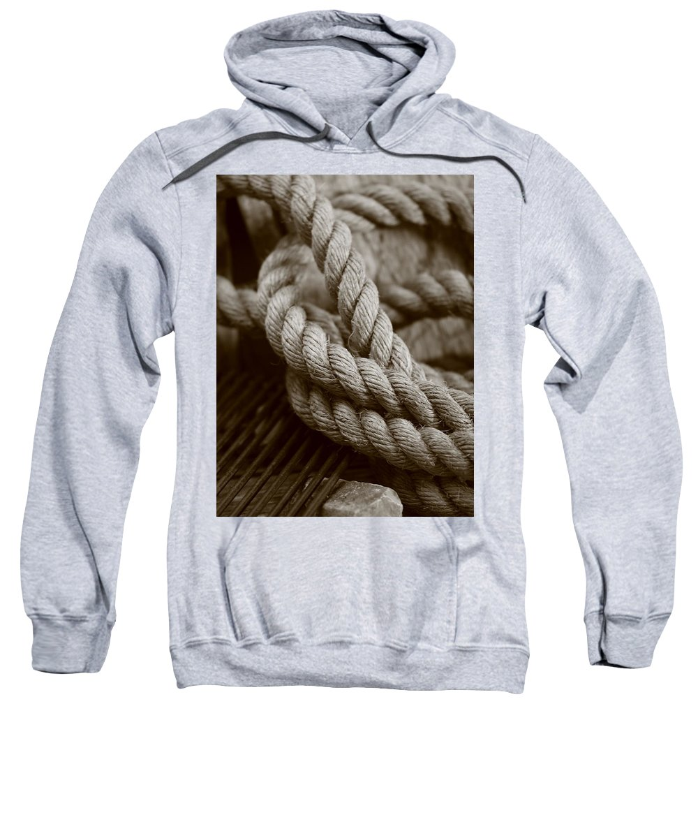 Boat Rope Sweatshirt featuring the photograph Boat Rope Sepia Tone by Alan Bartl