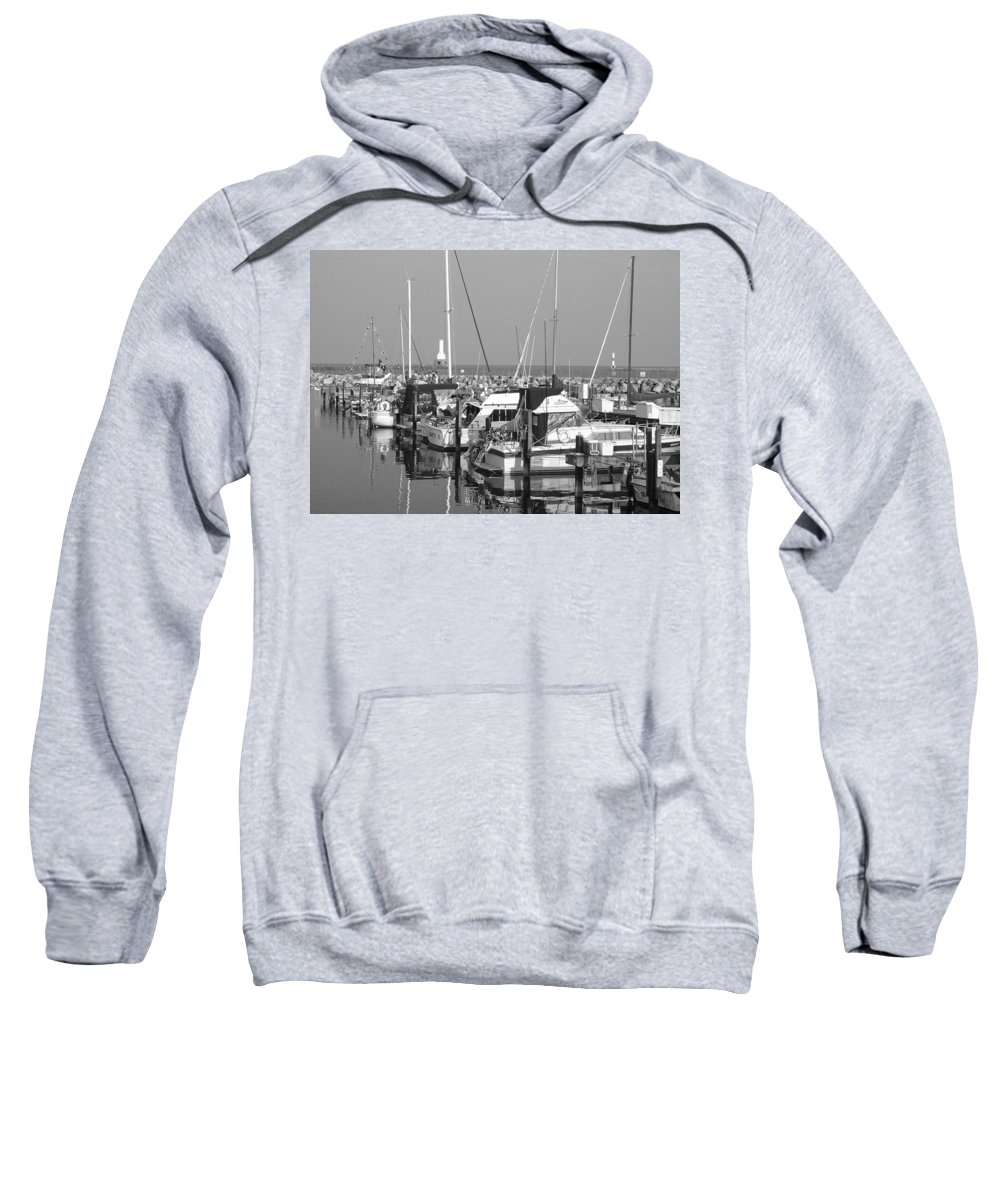 Sailboats Sweatshirt featuring the photograph Boats And Reflections B-w by Anita Burgermeister