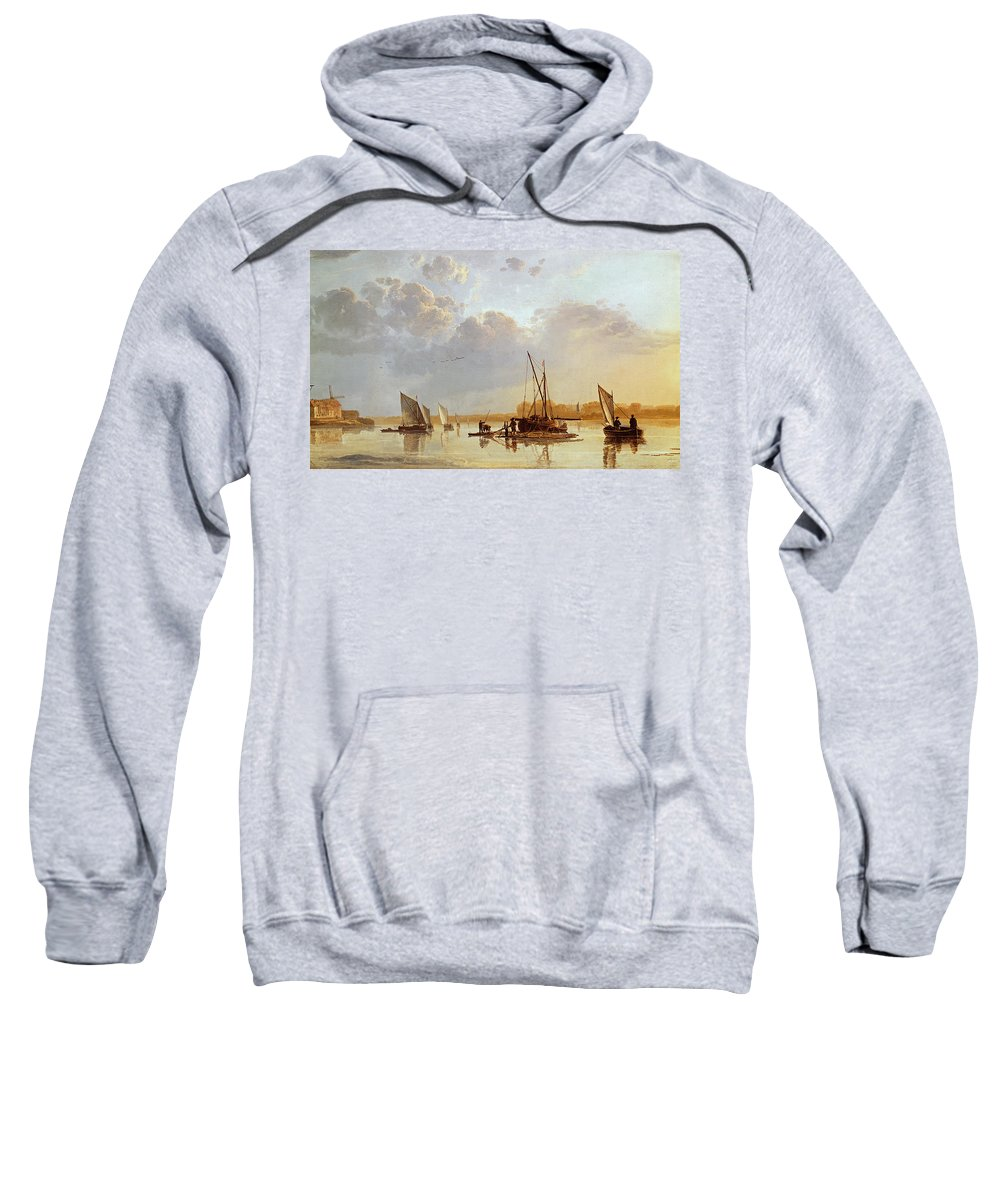 Boats On A River Sweatshirt featuring the painting Boats On A River by Aelbert Cuyp