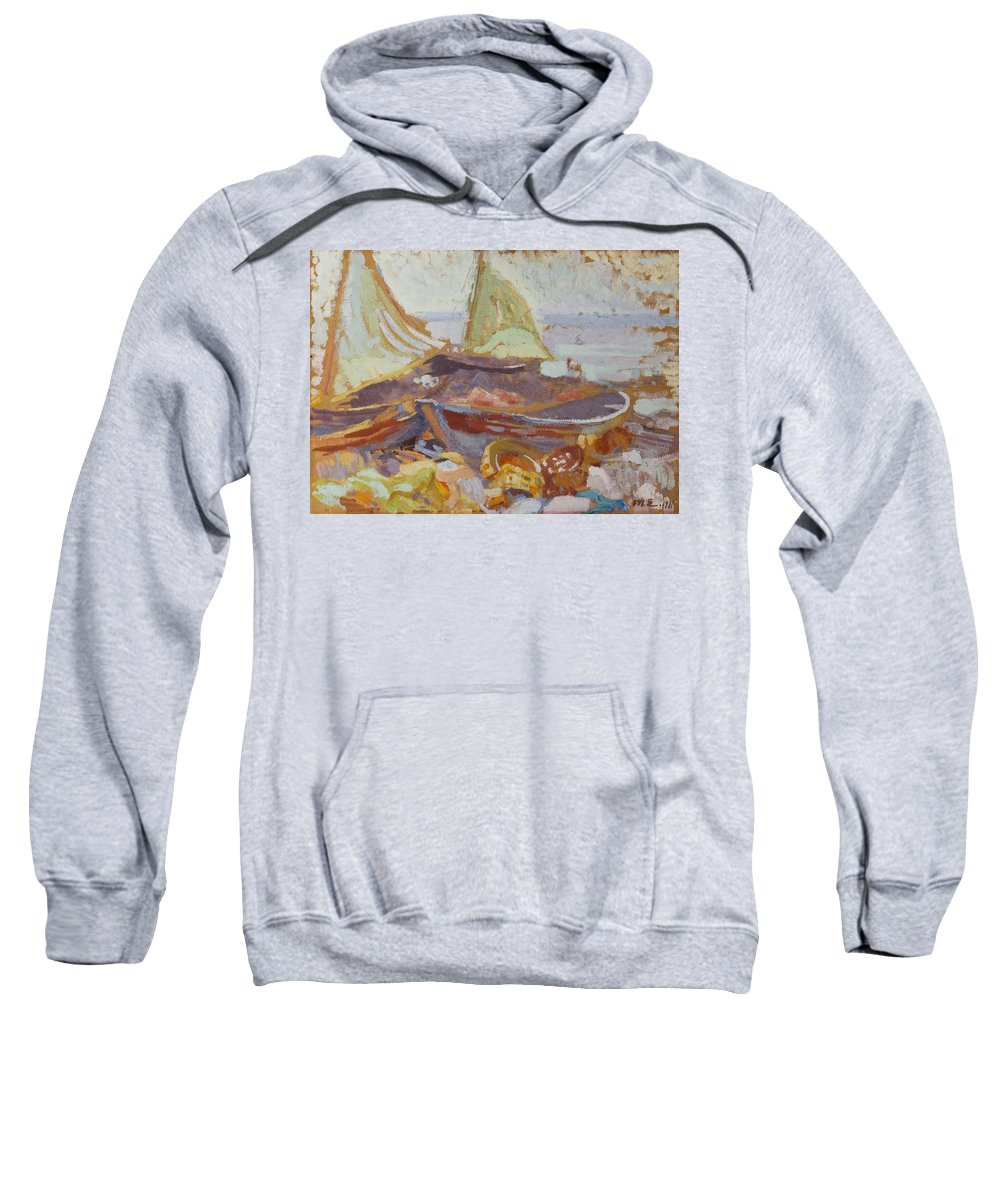 Magnus Enckell (1870-1925) Boats On The Shore Sweatshirt featuring the painting Boats On The Shore by MotionAge Designs