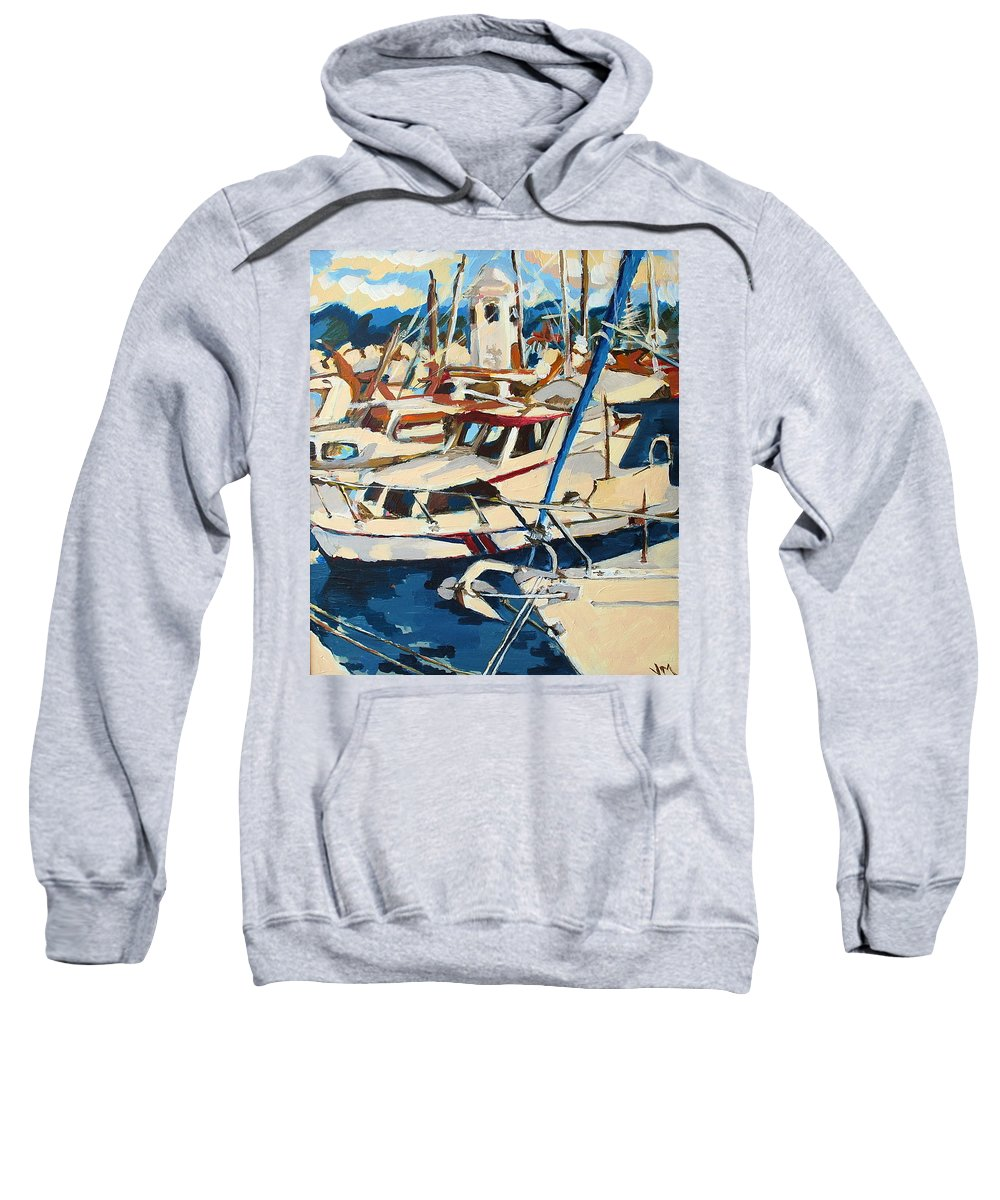 Boats Sweatshirt featuring the painting Boats by Virna Mulino