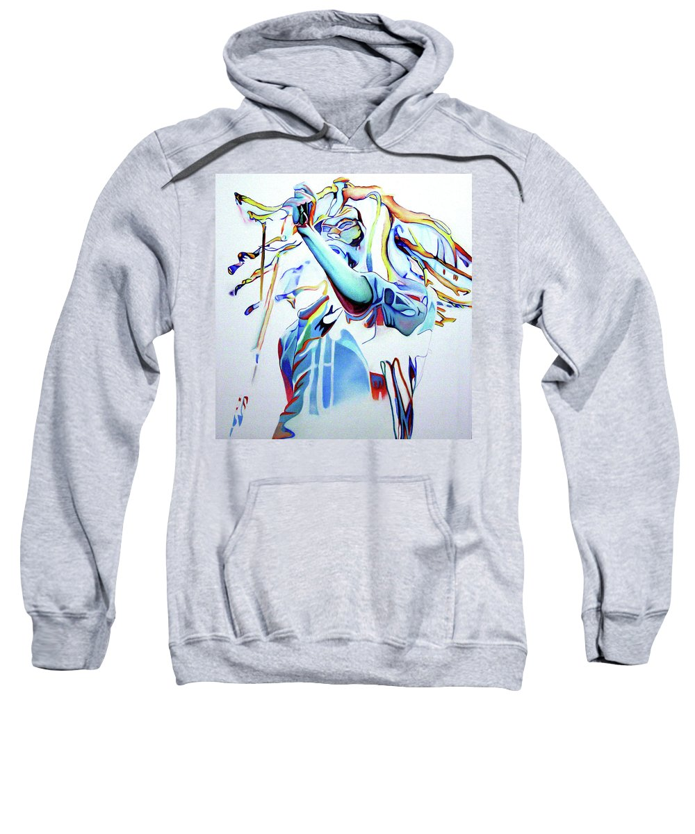 Bob Marley Sweatshirt featuring the painting Bob Marley Colorful by Joshua Morton