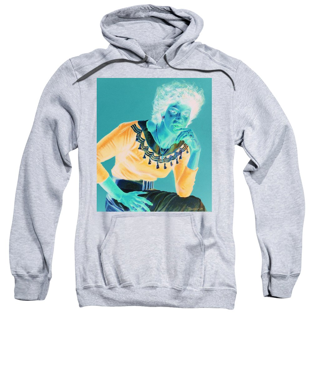 Portrait Sweatshirt featuring the painting Bobbi by Jean Hildebrant
