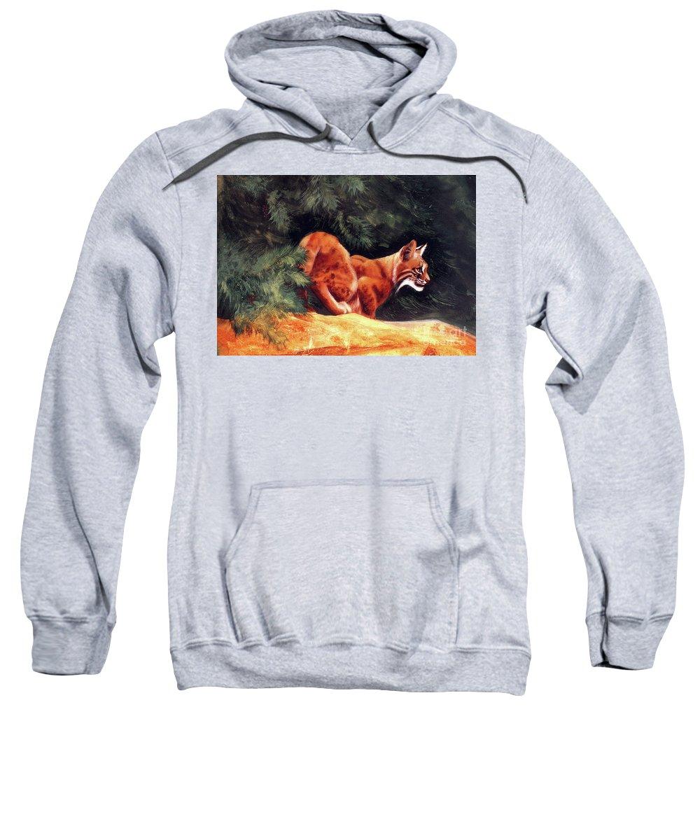 Bobcat Sweatshirt featuring the painting Bobcat by Kay Robinson