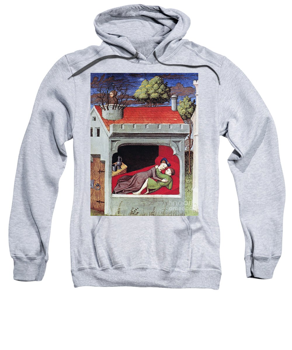 1430 Sweatshirt featuring the photograph Boccaccio: Lovers, C1430 by Granger