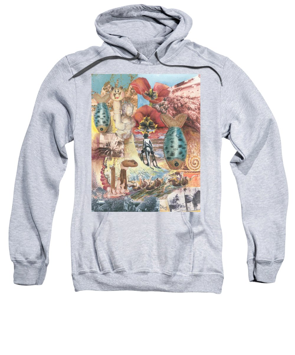 Abstract Sweatshirt featuring the digital art Bombs Away by Valerie Meotti