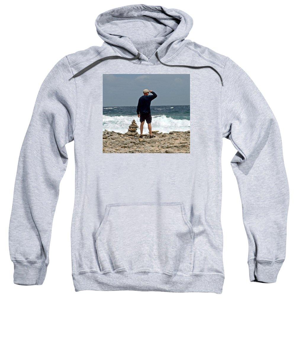 Bonaire Sweatshirt featuring the photograph Bonaire Inukshuk Monument by June Goggins