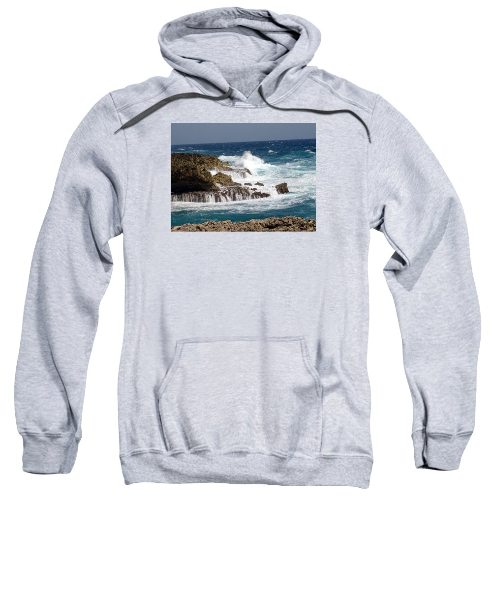 Bonaire Sweatshirt featuring the photograph Bonaire North Shore 1 by June Goggins