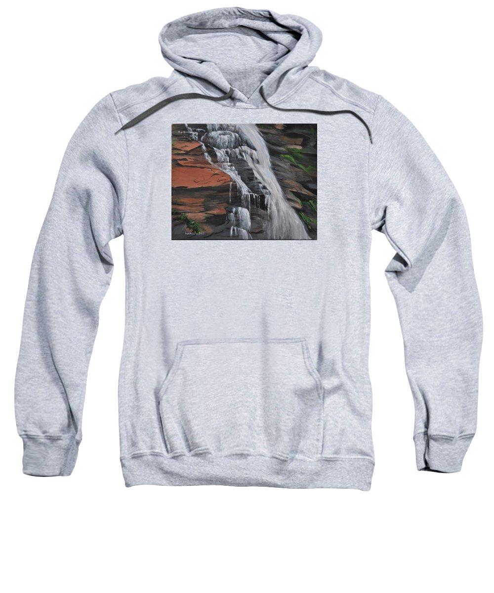 Rocks Sweatshirt featuring the painting Bone Creek Falls by Glen Frear