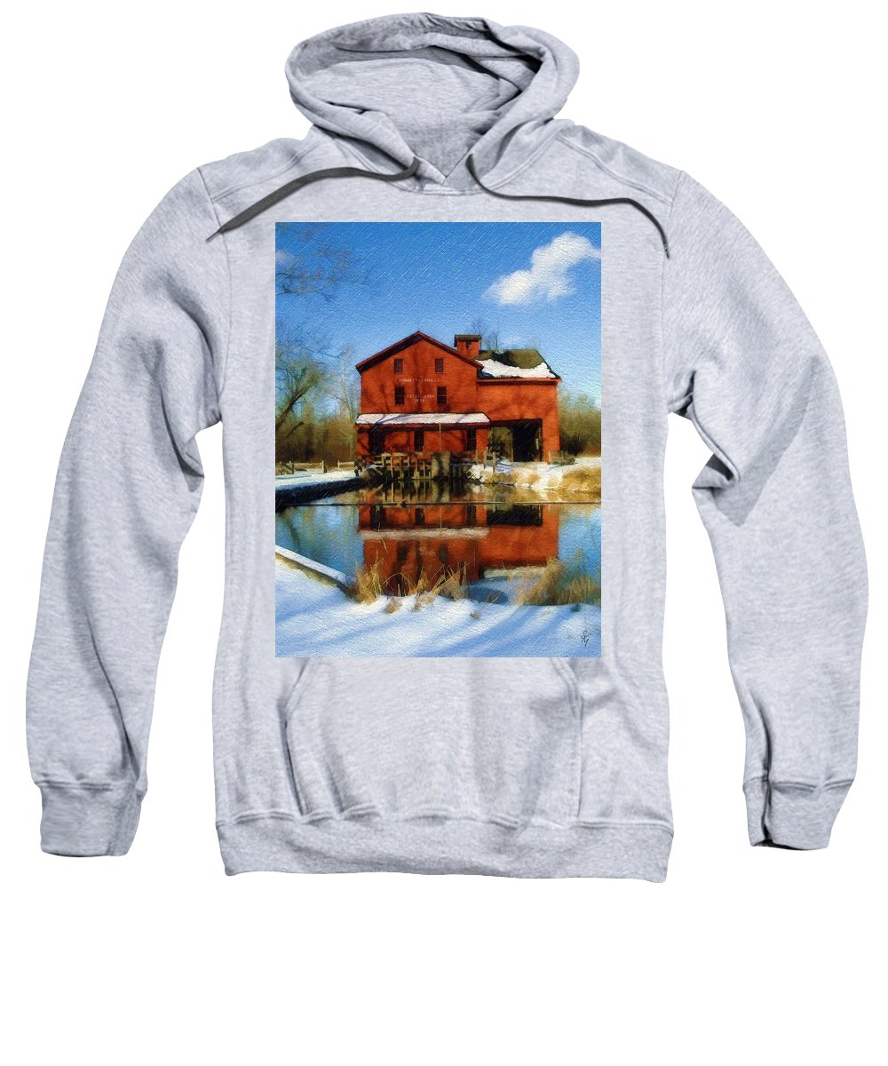 Bonneyville Mill Sweatshirt featuring the photograph Bonneyville In Winter by Sandy MacGowan
