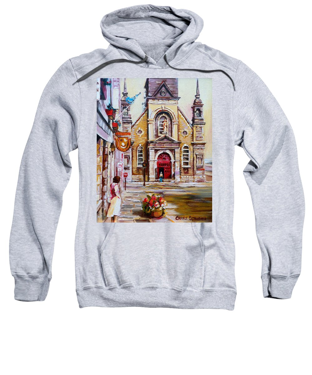 Montreal Churches Sweatshirt featuring the painting Bonsecours Church by Carole Spandau