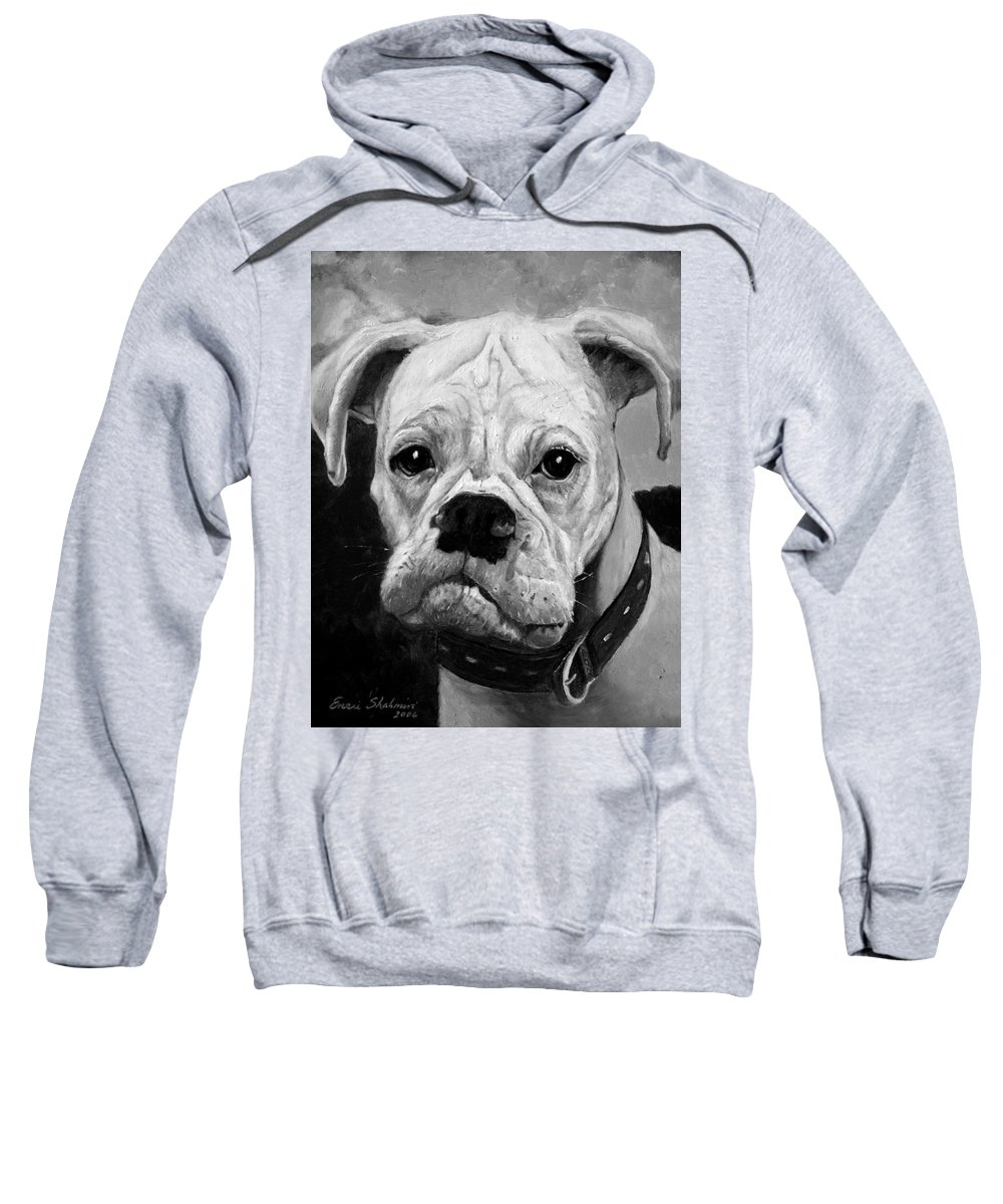 Boxer Sweatshirt featuring the painting Boo The Boxer by Portraits By NC