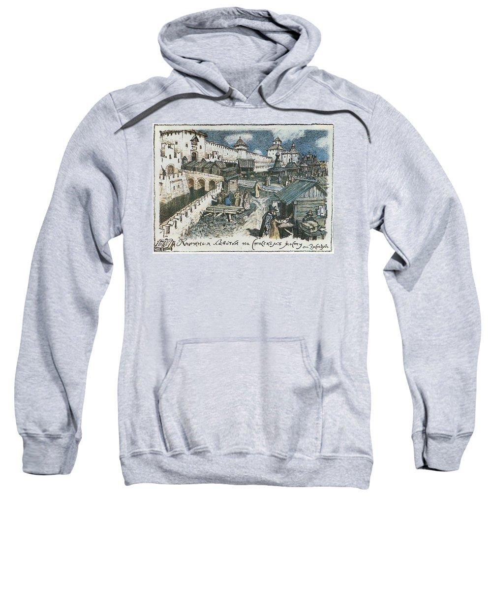 Map Sweatshirt featuring the digital art Book Shop On The Bridge Spassky In The Xvii Century 1922 Apollinaris M Vasnetsov by Eloisa Mannion