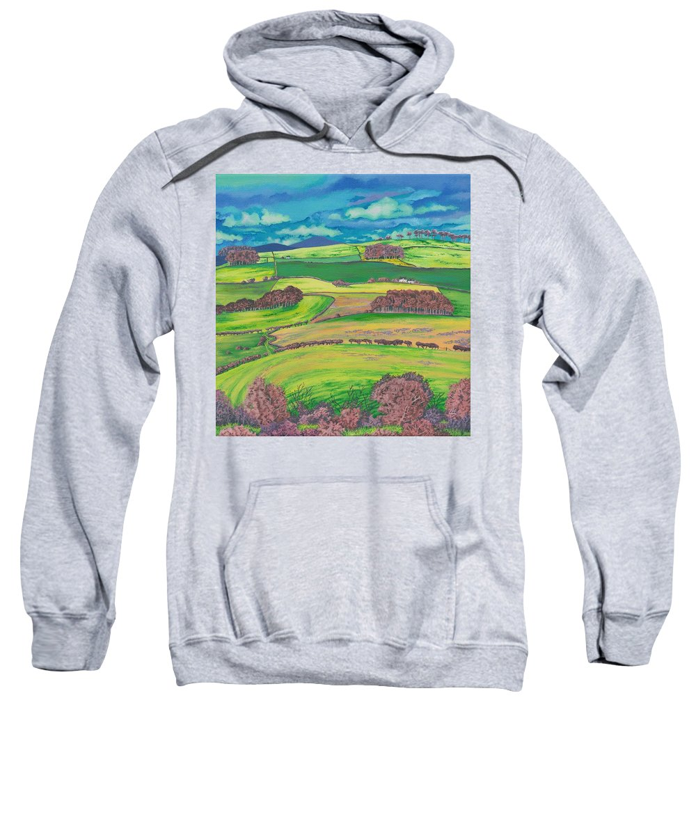 Fields Sweatshirt featuring the painting Border Country by Lynne Henderson