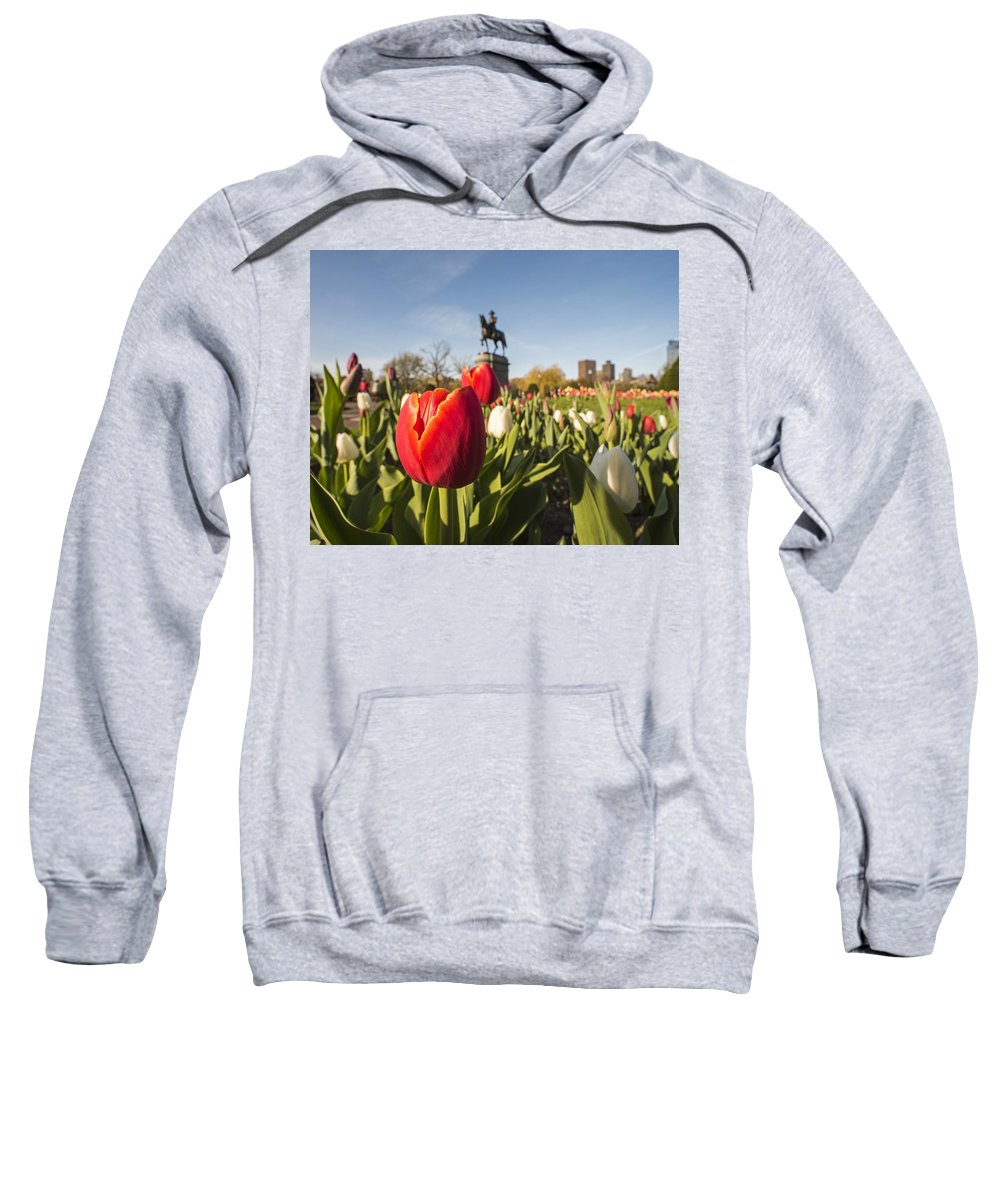 Boston Sweatshirt featuring the photograph Boston Public Garden Tulips And George Washington Statue by Toby McGuire