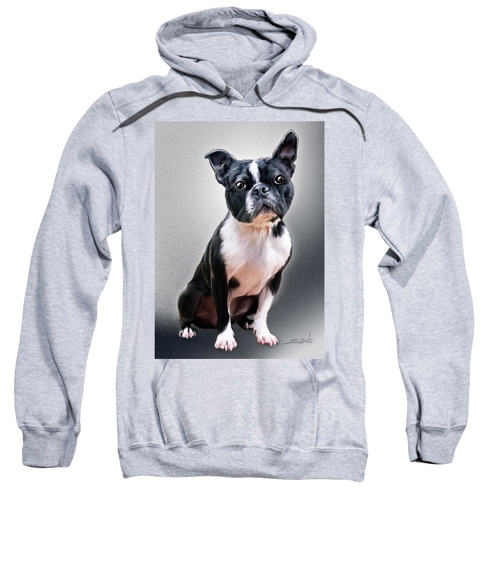 Spano Sweatshirt featuring the painting Boston Terrier By Spano by Michael Spano