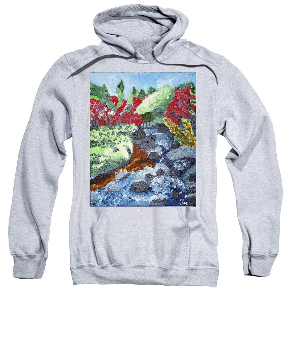 Landscape Sweatshirt featuring the painting Botanic Garden Merano 2 by Valerie Ornstein
