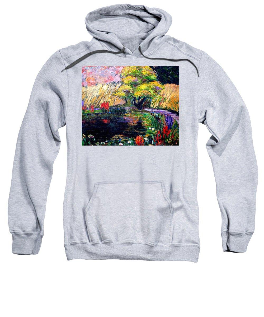 Art Nomad Sweatshirt featuring the painting Botanical Garden In Lund Sweden by Art Nomad Sandra Hansen