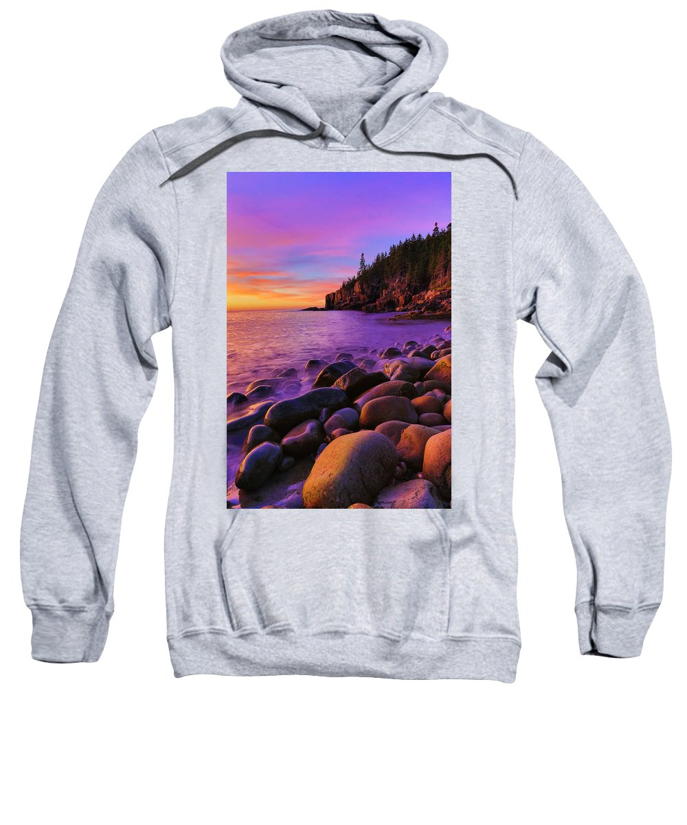 Acadia Sweatshirt featuring the photograph Boulder Beach Sunrise by Nancy Dunivin