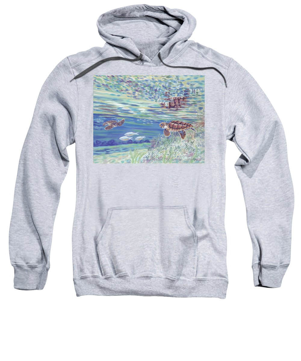 Ocean Sweatshirt featuring the painting Boy Meets Girl by Danielle Perry
