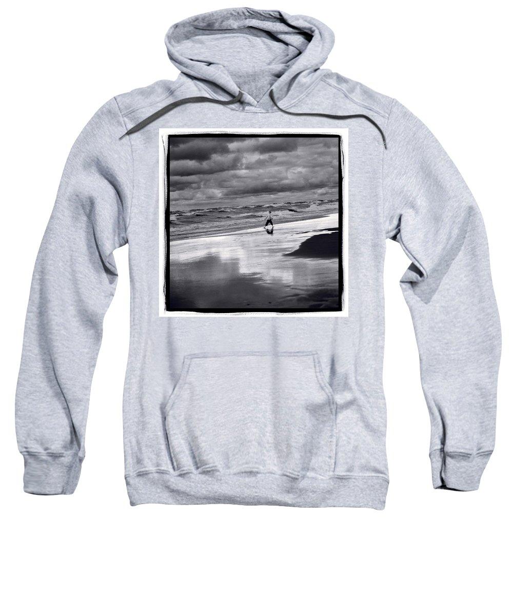 Beach Sweatshirt featuring the photograph Boy On Shoreline by Steve Gadomski