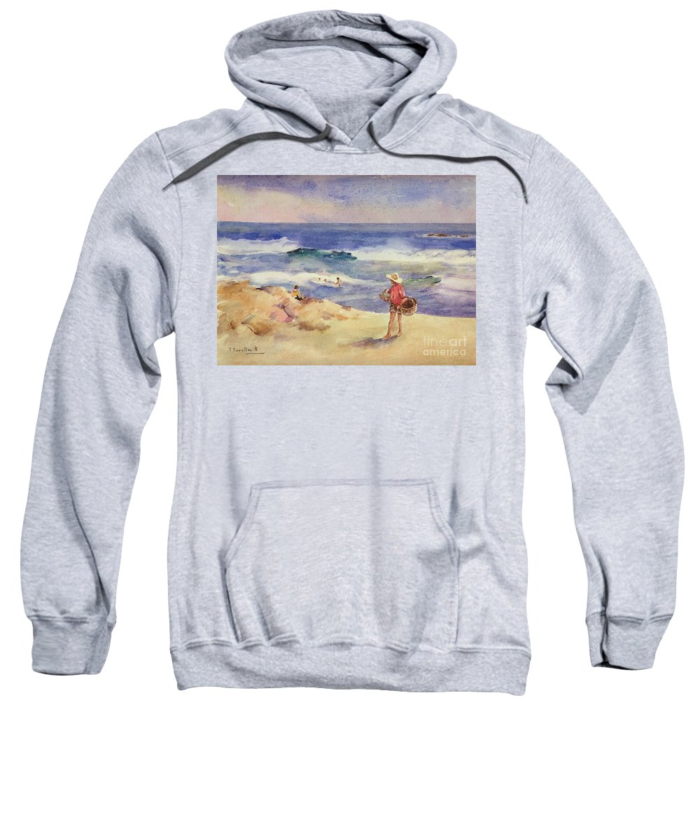Boy On The Sand (w/c On Paper)coast; Coastal; Beach; Holiday; Seaside; Waves; Basket; Swimming; Playing;watercolor Sweatshirt featuring the painting Boy On The Sand by Joaquin Sorolla