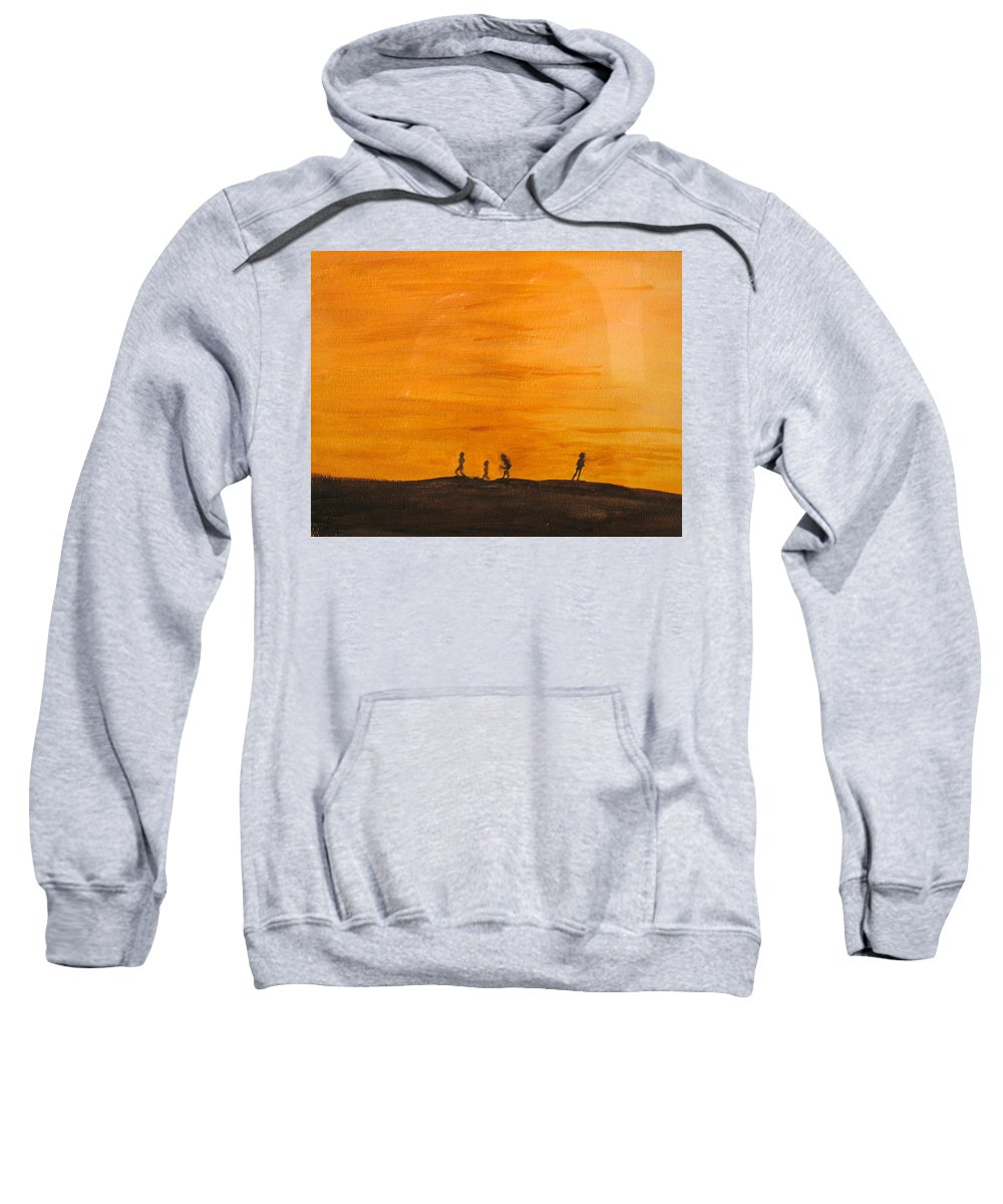 Boys Sweatshirt featuring the painting Boys At Sunset by Ian MacDonald