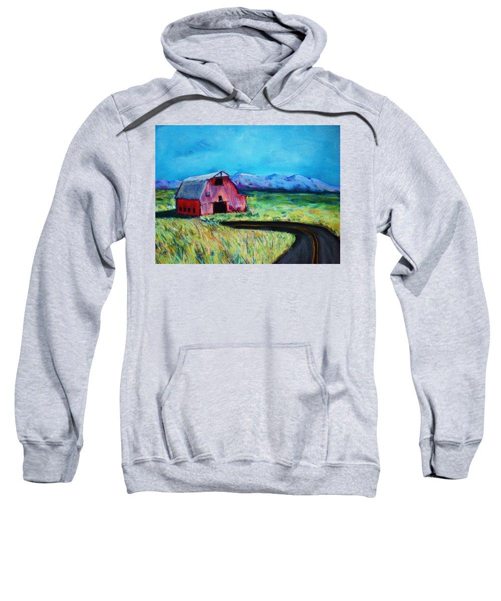 Barn Sweatshirt featuring the pastel Bradley's Barn by Melinda Etzold