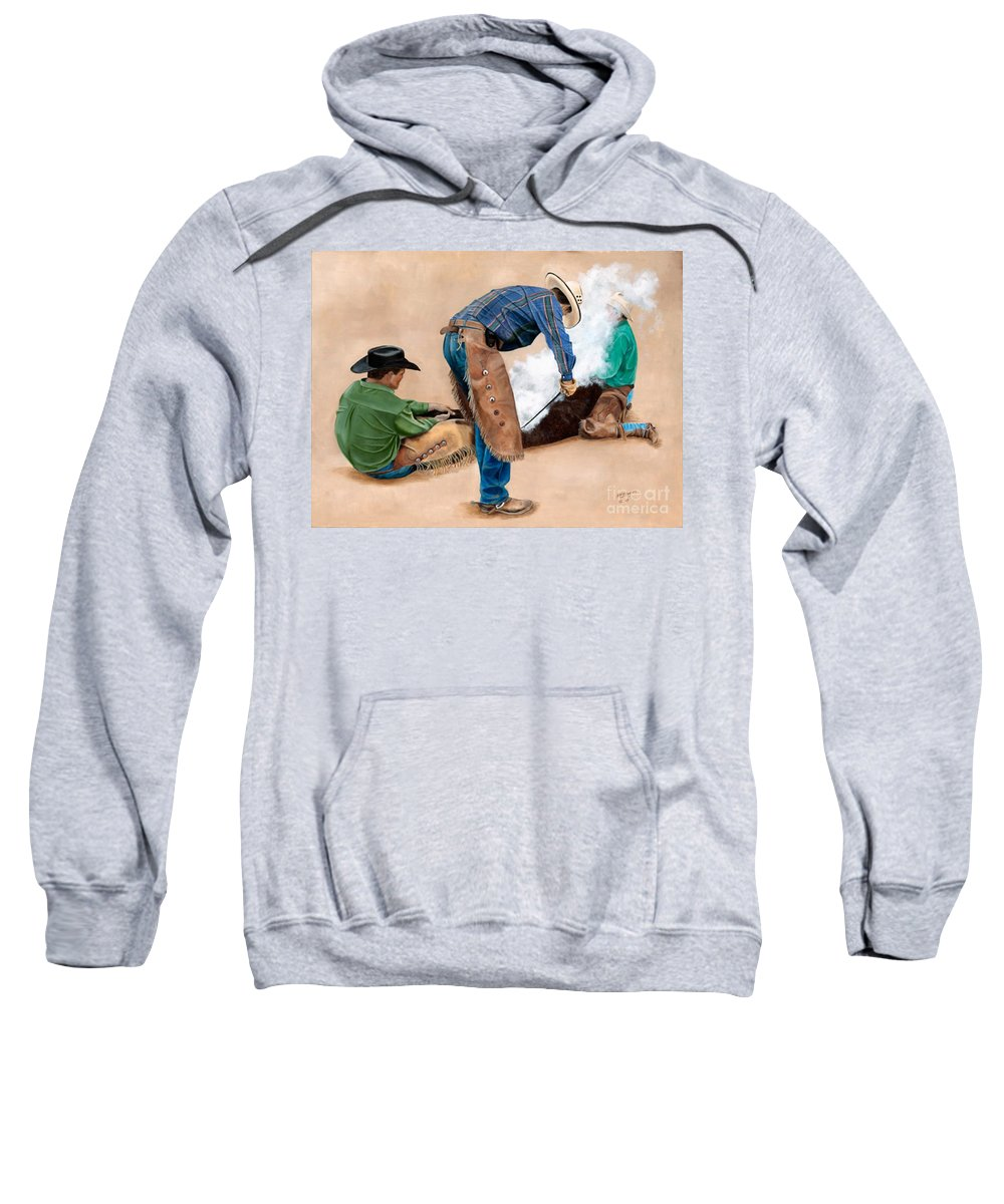 Art Sweatshirt featuring the painting Branding Day by Mary Rogers