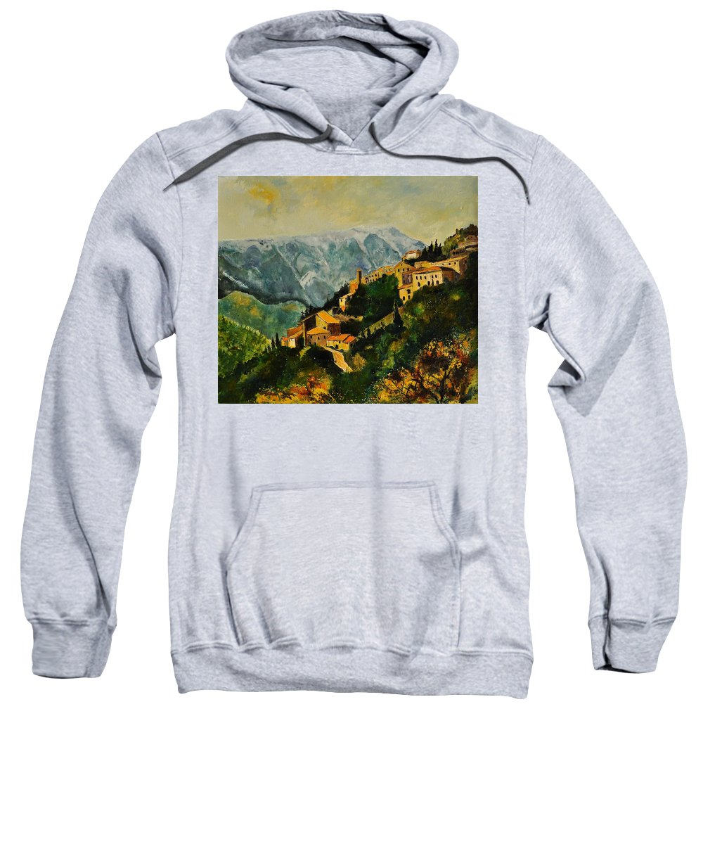 Landscape France Provence Sweatshirt featuring the painting Brantes by Pol Ledent