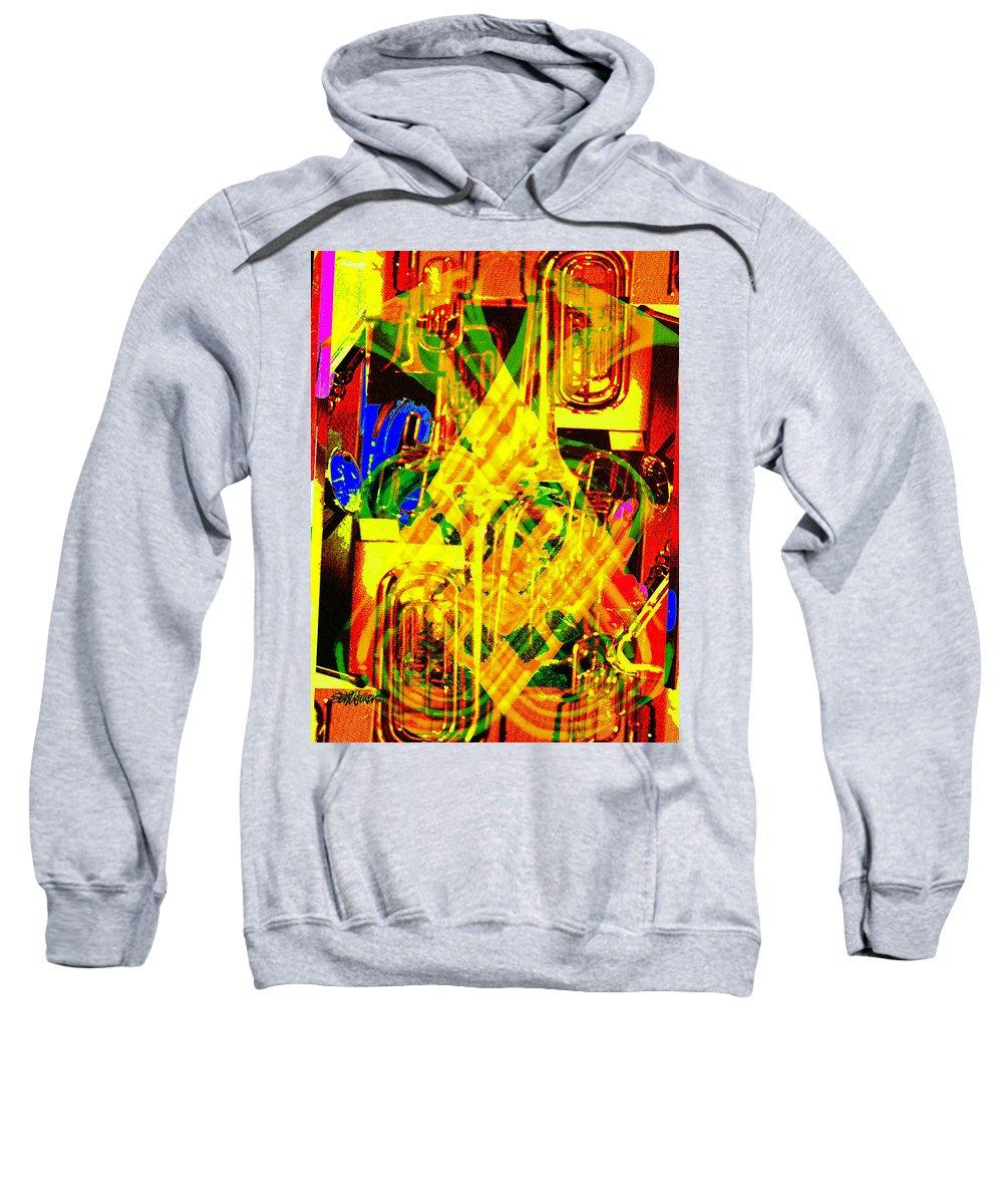 Festive Sweatshirt featuring the digital art Brass Attack by Seth Weaver