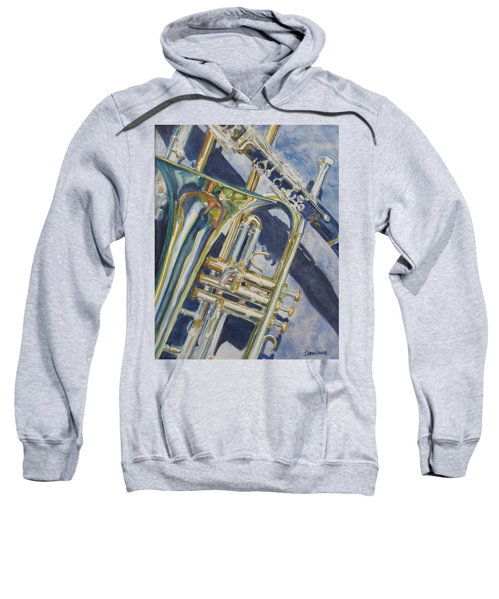 Brass Sweatshirt featuring the painting Brass Winds And Shadow by Jenny Armitage