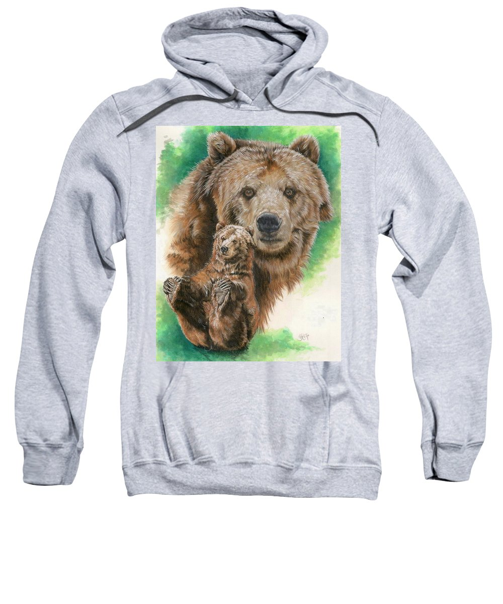 Bear Sweatshirt featuring the mixed media Brawny by Barbara Keith