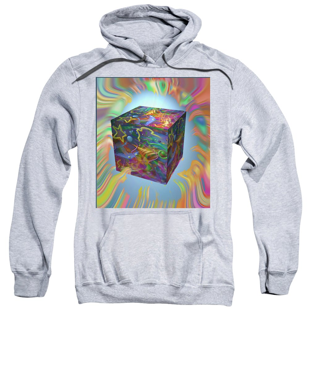 Cube Sweatshirt featuring the mixed media Break On Through by Kevin Caudill