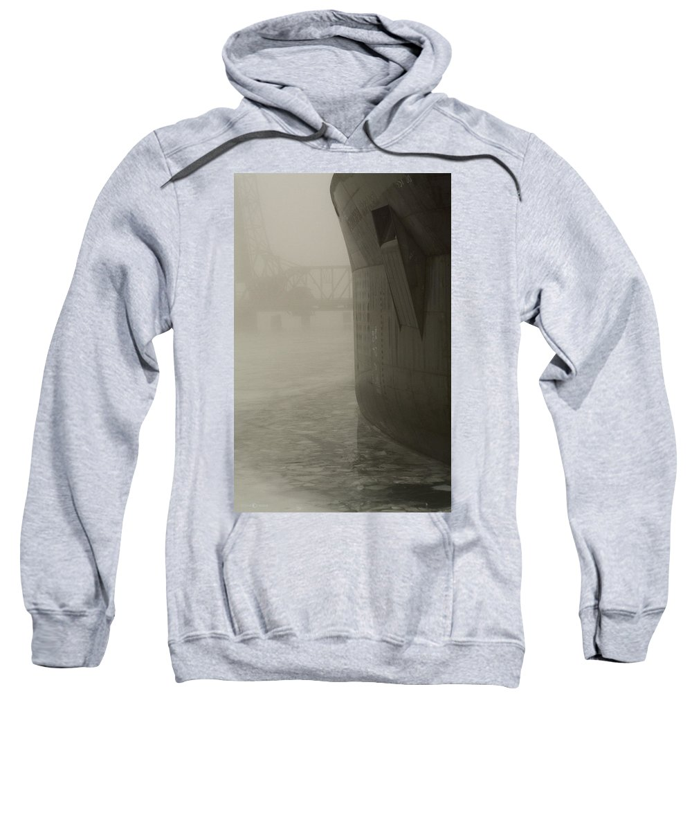 Water Sweatshirt featuring the photograph Bridge And Barge by Tim Nyberg