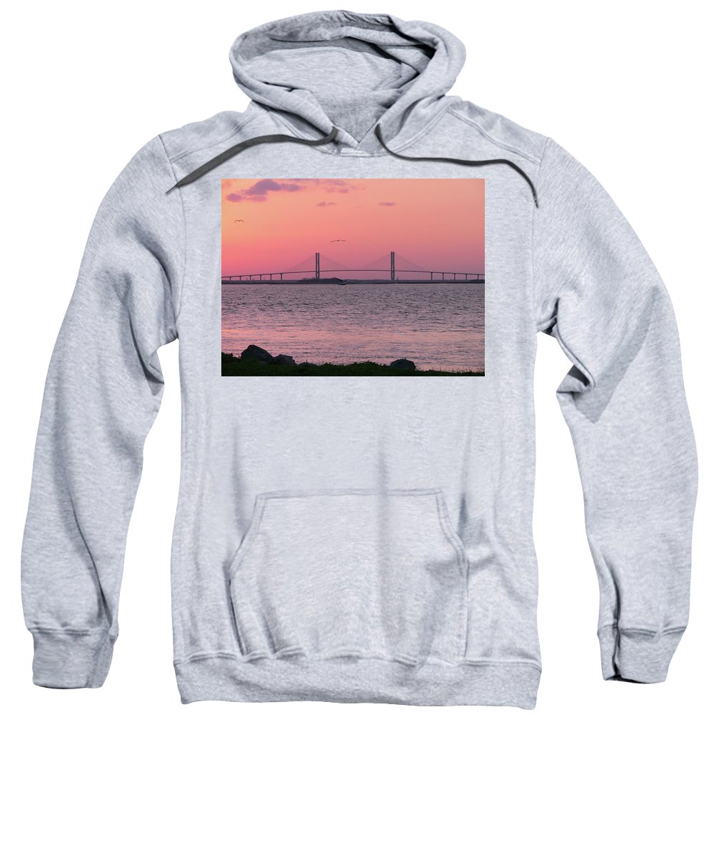 Lanier Sweatshirt featuring the photograph Bridge Sunset by Al Powell Photography USA