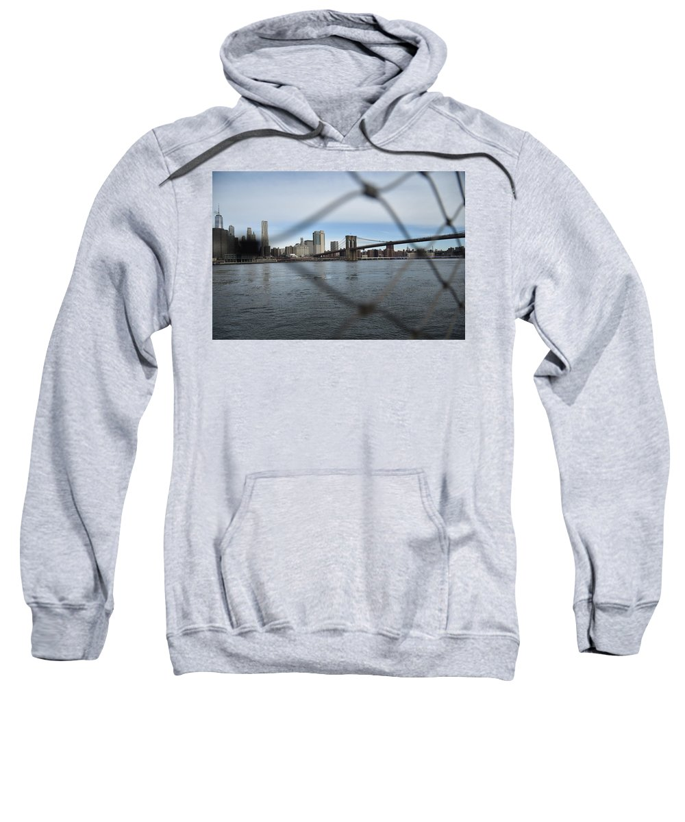 Fences Sweatshirt featuring the photograph Bridge Through The Fence by Aya Edlin