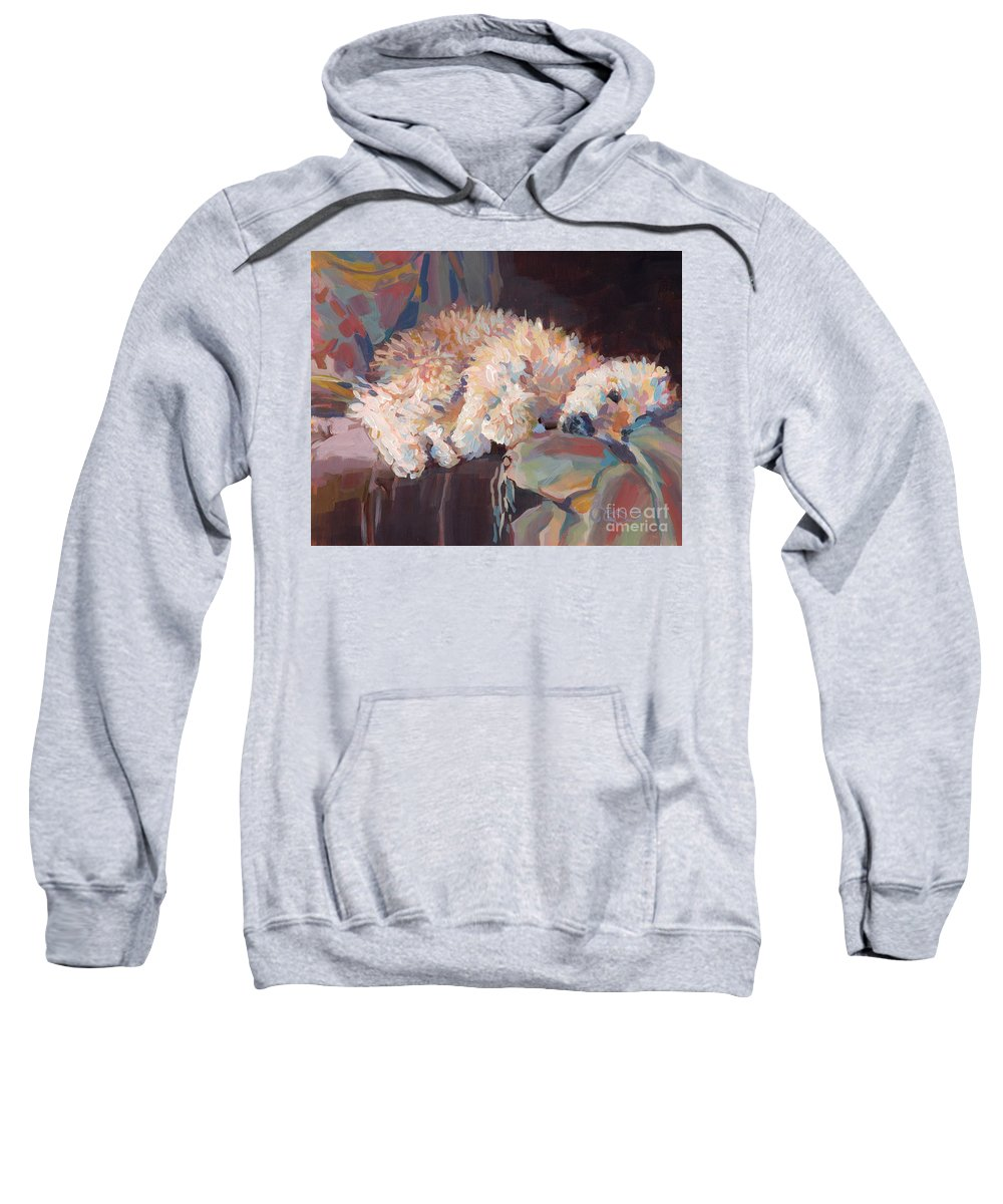 Goldendoodle Sweatshirt featuring the painting Brie As Odalisque by Kimberly Santini