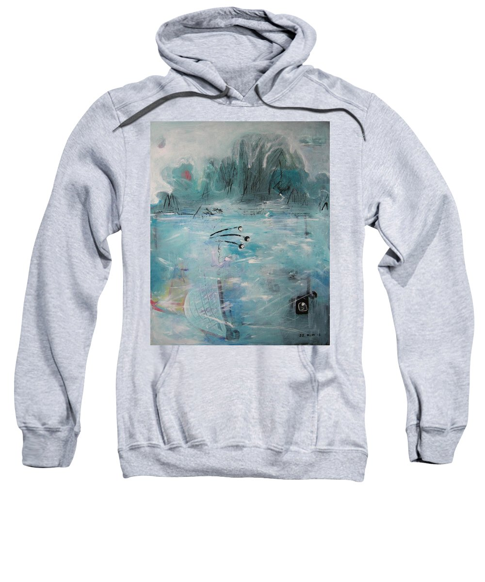 Abstract Paintings Sweatshirt featuring the painting Brierly Beach by Seon-Jeong Kim
