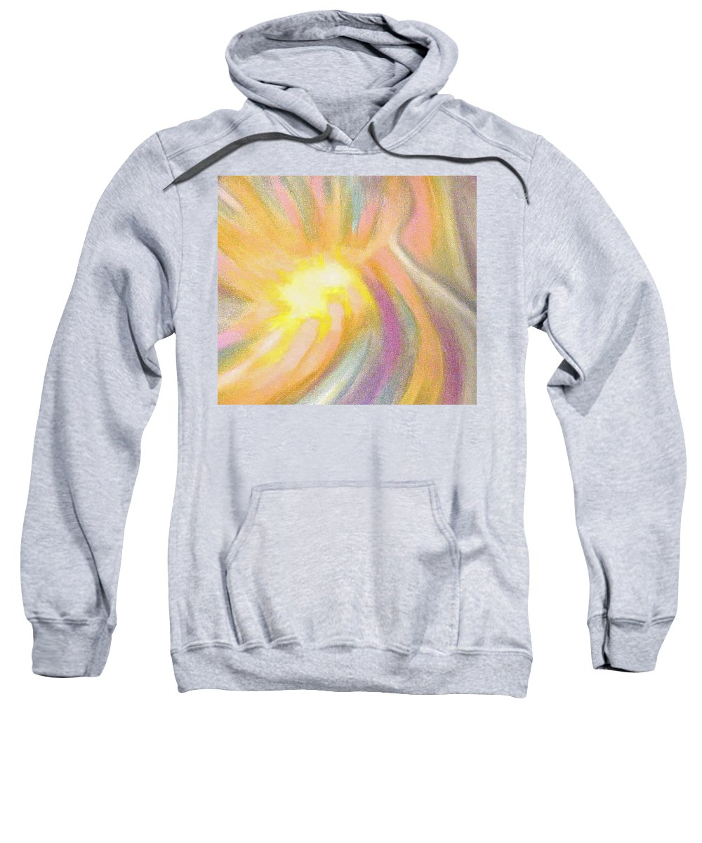 Pastel Drawing Colors Abstract Sweatshirt featuring the drawing Bright Light Flight by Jan Gilmore