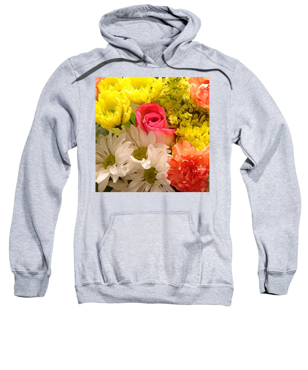 Floral Sweatshirt featuring the painting Bright Spring Flowers by Amy Vangsgard