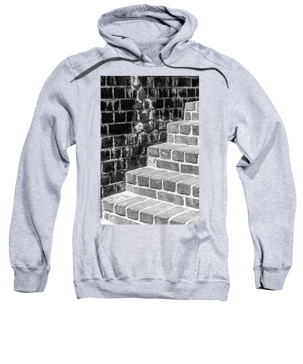 Brick Sweatshirt featuring the photograph Bright Steps Dark Wall by Antony McAulay