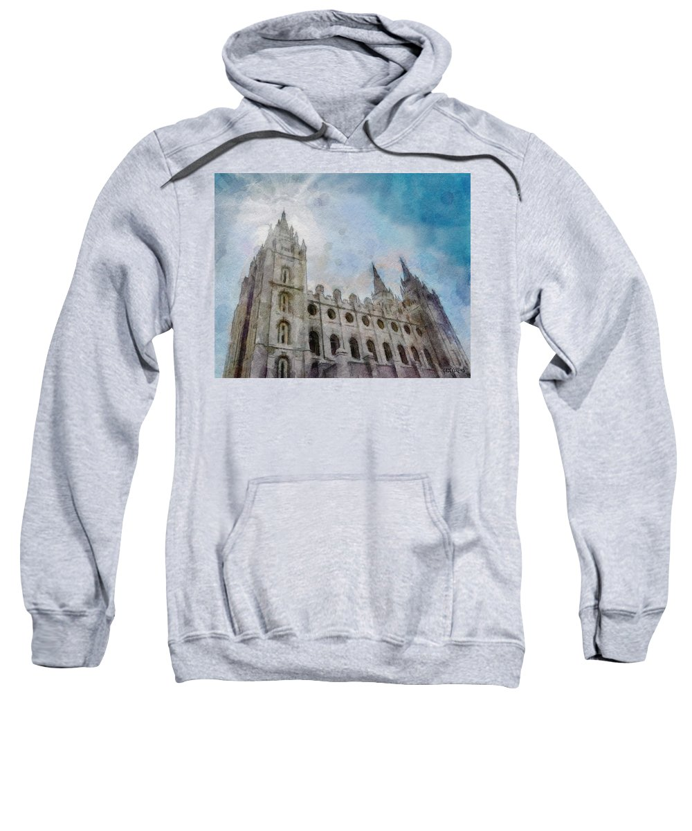 Lds Sweatshirt featuring the painting Brightly Beams by Greg Collins