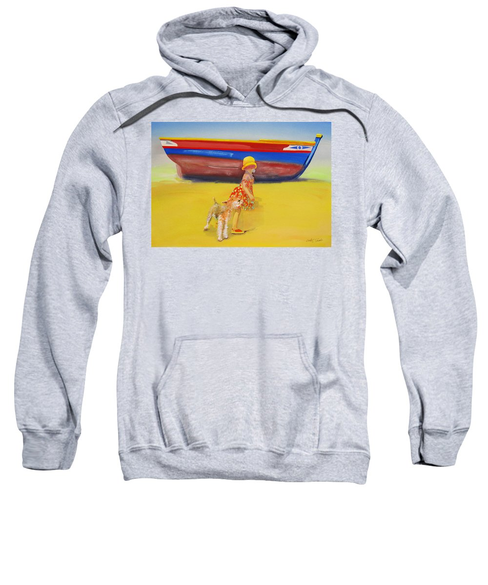 Wire Haired Fox Terrier Sweatshirt featuring the painting Brightly Painted Wooden Boats With Terrier And Friend by Charles Stuart